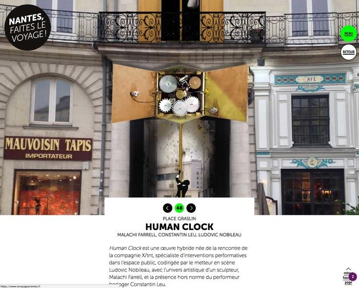 HUMAN CLOCK - Installation monumentale et performative pour une place publique. Le Lieu Unique