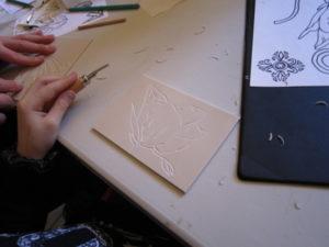 Linogravure et végétaux Palais du Tau