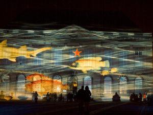 Projection nocturne sur la façade du Muséum Muséum d'histoire naturelle