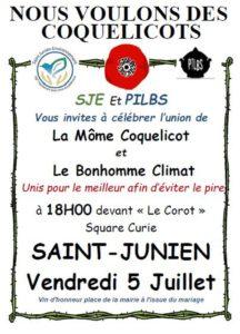 Rassemblement des coquelicots contre les pesticides pour le bio à St Junien Place Deffuas