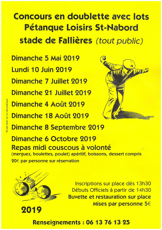 Calendrier Petanque Ardeche 2020.Concours Petanque St Nabord 8 Septembre 2019