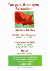 Ateliers adultes: tao gym