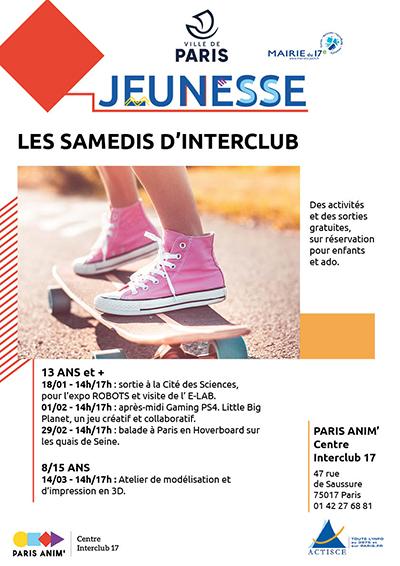 LES SAMEDIS D'INTERCLUB 17 Centre Paris Anim' Interclub 17