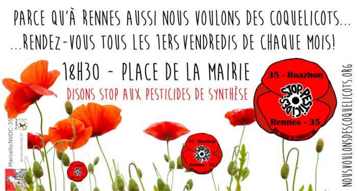 STOP pesticides: 15ème rassemblement des Coquelicots Rennais.e.s ! Place de la Mairie