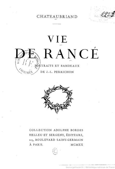 Vie de Rancé Chateaubriand