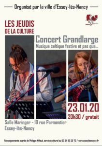 JEUDI DE LA CULTURE - CONCERT DE GRANDLARGE Essey-lès-Nancy   2020-01-23