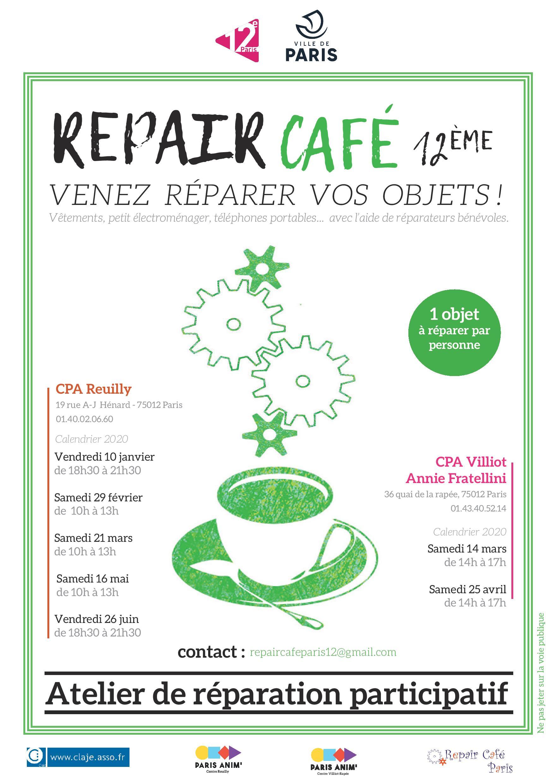 Repair Café Paris Calendrier 2022 Repair café Centre Paris Anim' Reuilly Paris vendredi 10 janvier 2020