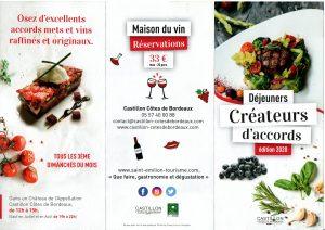Déjeuners créateurs d'accords - Chateaux en Castillon Côtes de Bordeaux Castillon-la-Bataille