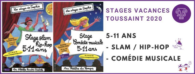 Stages 5-11 ans SLAM/HIP-HOP ou COMÉDIE MUSICALE Toussaint Théâtre Pandora