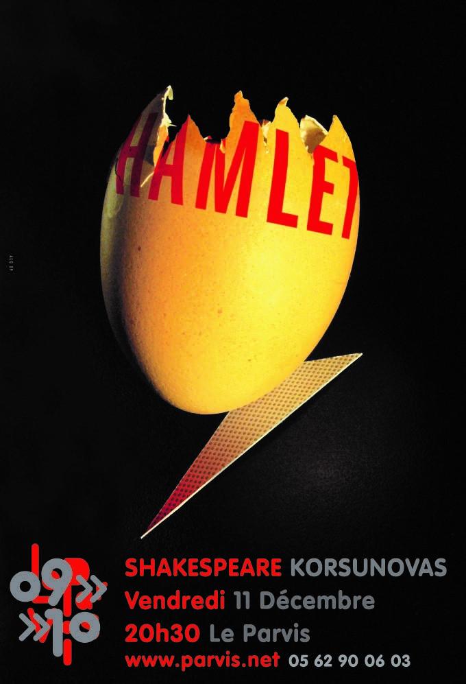 Hamlet affiche Alain Le Quernec Shakespeare Korsunovas le Parvis