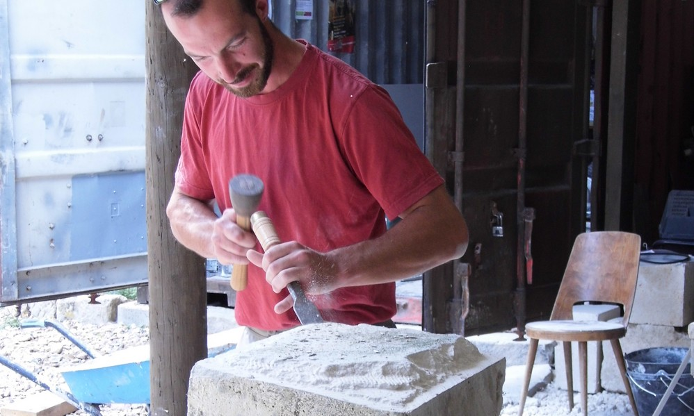 Atelier taille de pierre à l'abbaye de Valsery Cœuvres-et-Valsery