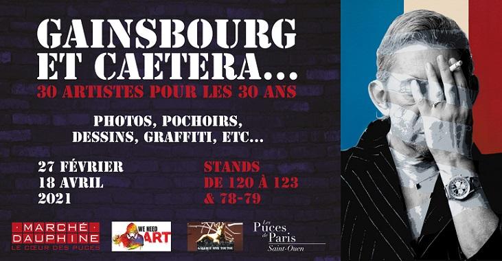 Hommage à Serge Gainsbourg: une expo gratuite aux Puces Marché Dauphine Puces de Saint Ouen – Galerie One Toutou stand 122 –