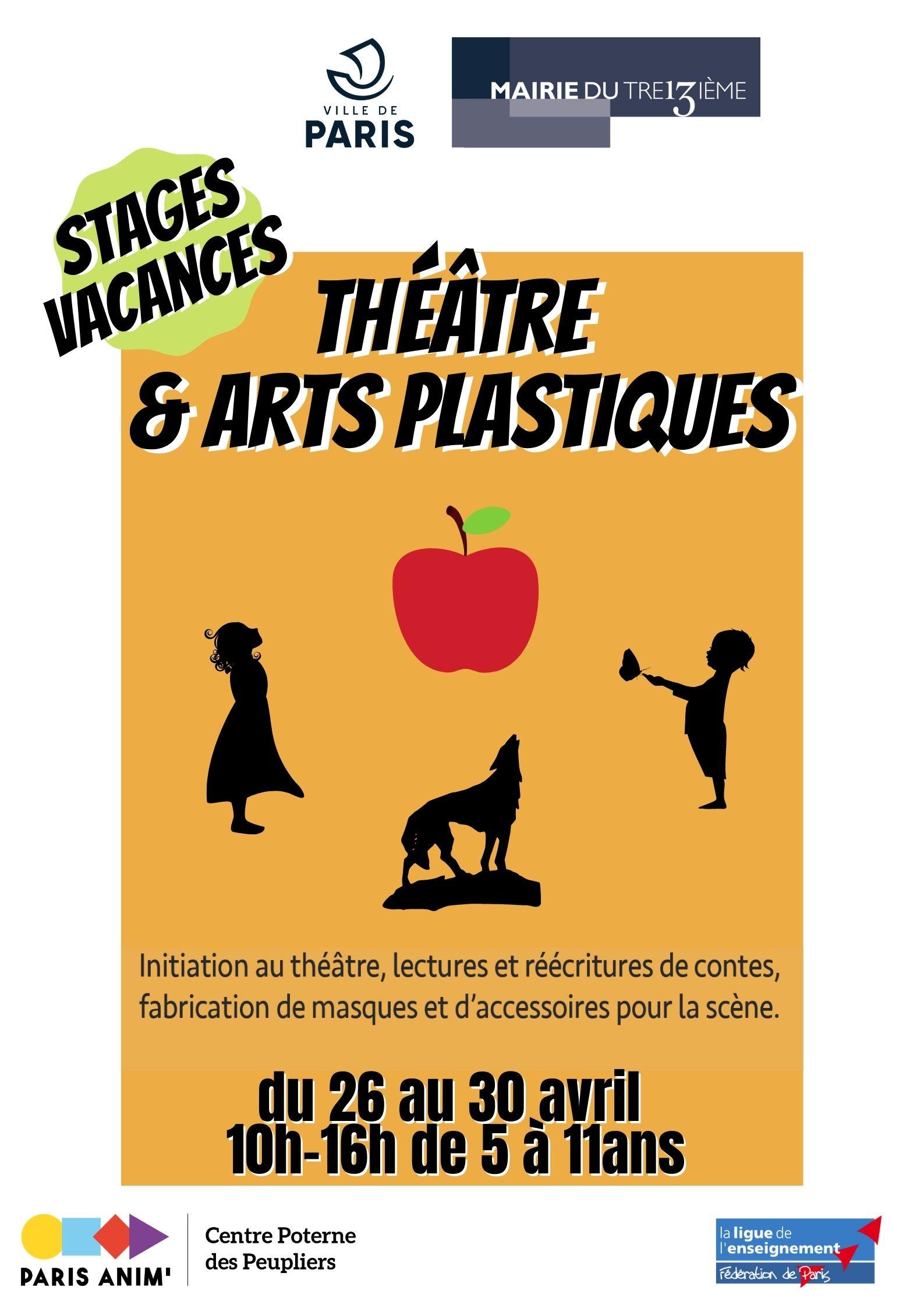 Stage vacances scolaires Avril2021 Centre Paris Anim' Poterne des Peupliers Paris