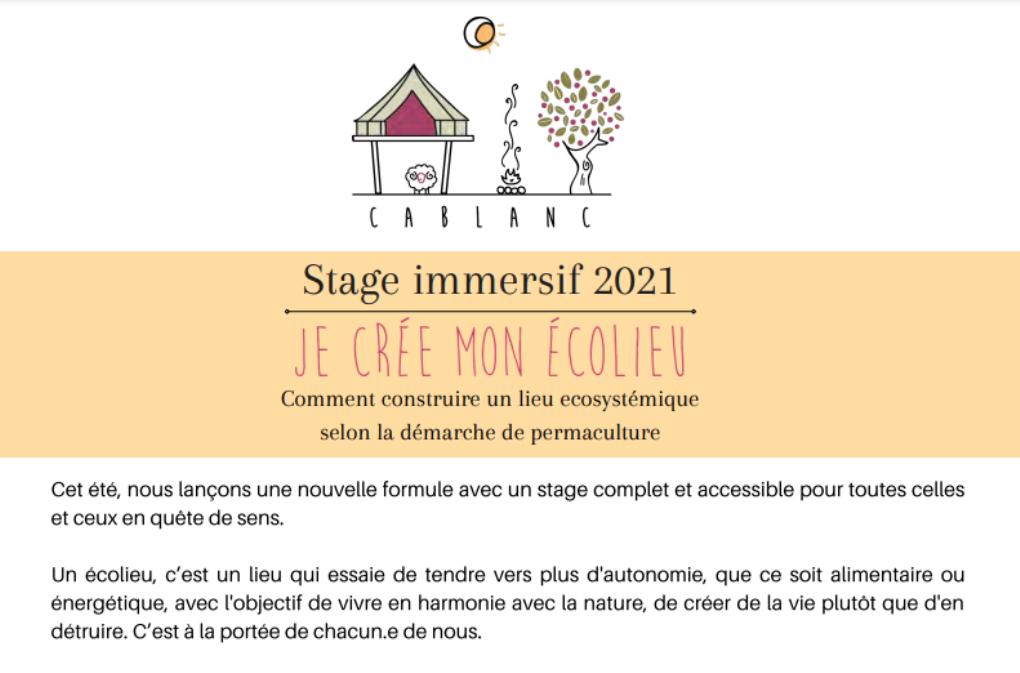 Stage immersif à l'écolieu Cablanc: créer son écolieu Saussignac