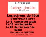 Les vendredis soirs d'Août à l'Auberge Girondine Sainte-Croix-du-Mont
