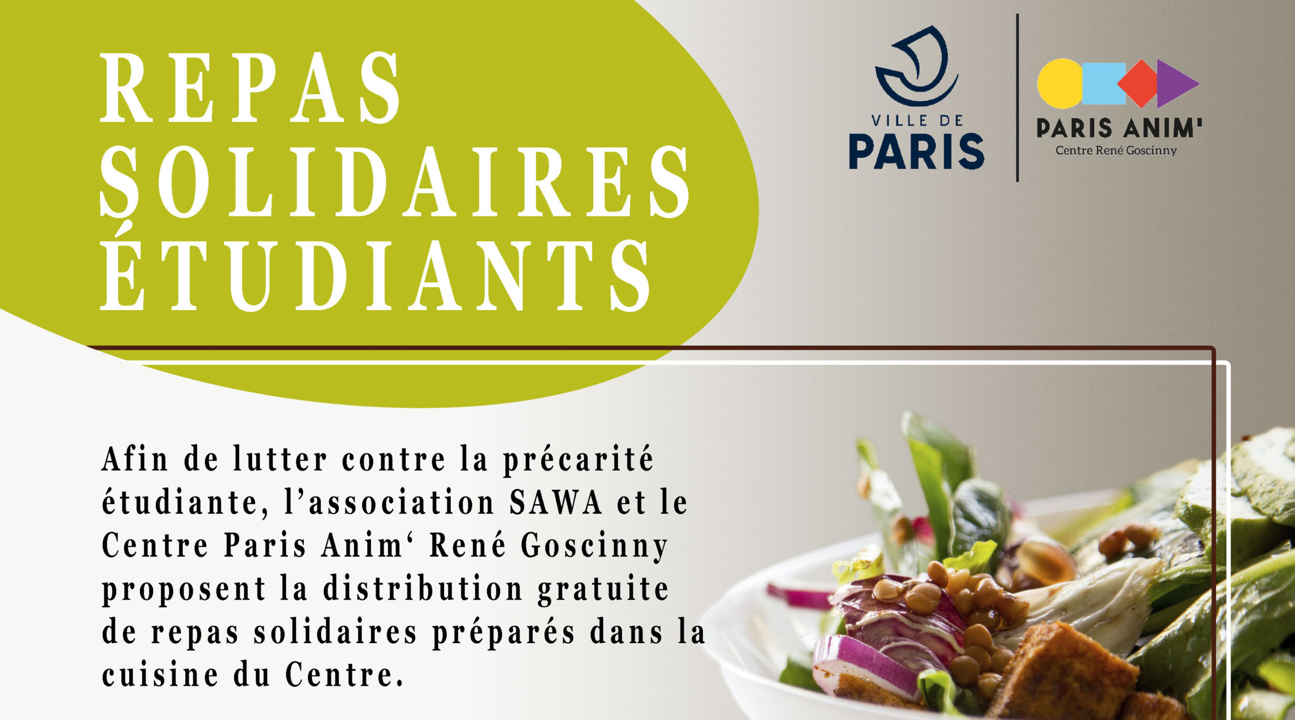 Repas Solidaires Étudiants – au Centre Goscinny Centre Paris Anim' René Goscinny