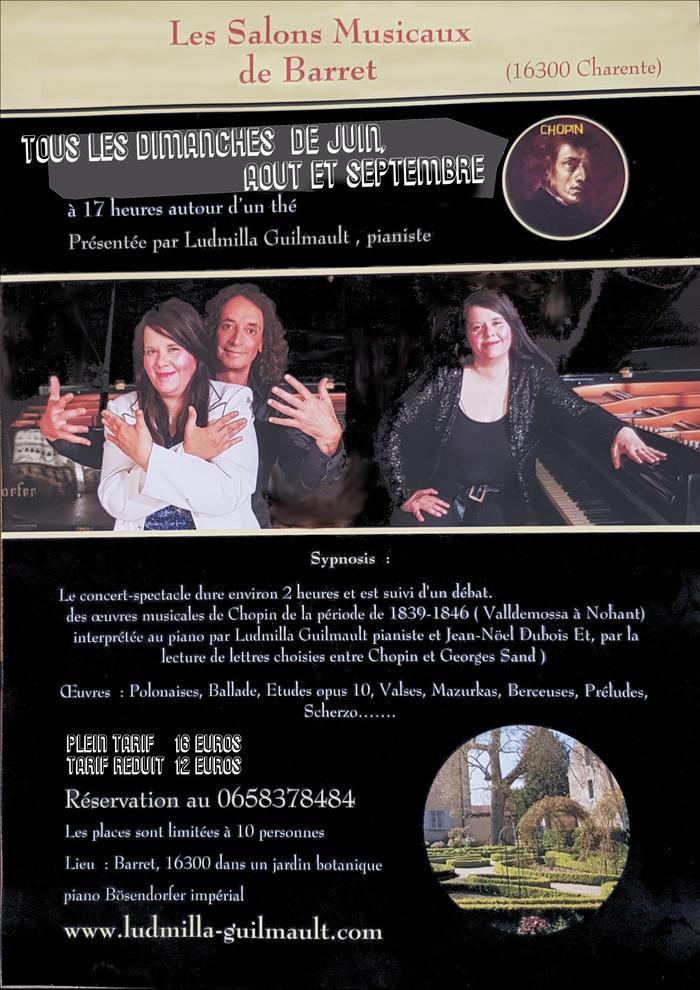 »Chopin et Sand, le Duo Mythique » par les pianistes Ludmilla-guilmault et Jean- Noel Dubois. salons musicaux