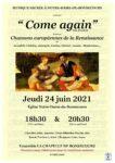 'COME AGAIN'...ET AUTRES CHANSONS DE RENAISSANCE Nancy   2021-06-24