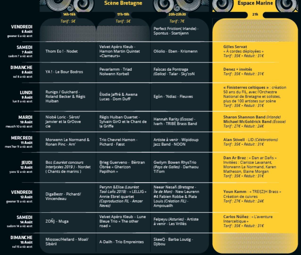 programme festival interceltique lorient