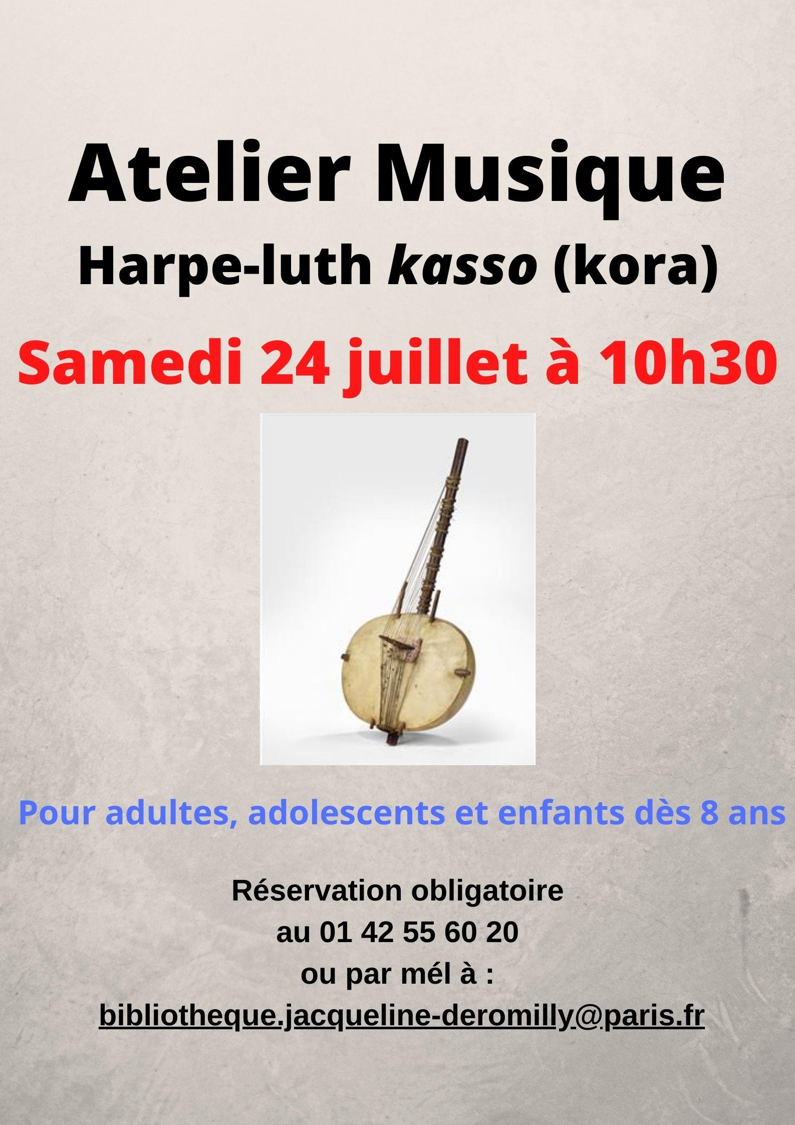 Activités autour de la harpe-luth kasso Bibliothèque Jacqueline de Romilly Paris