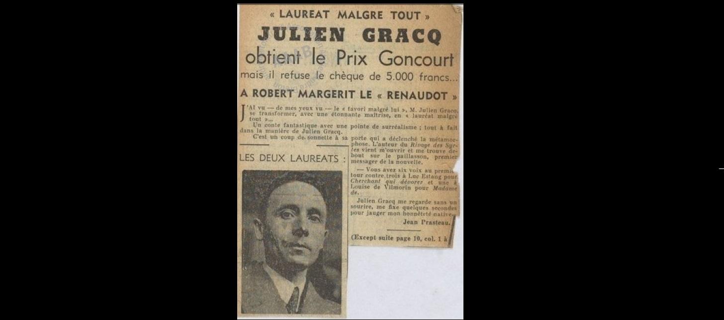IL Y A 70 ANS JULIEN GRACQ REFUSAIT LE GONCOURT : UN CAS UNIQUE DANS L'HISTOIRE LITTÉRAIRE FRANCAISE