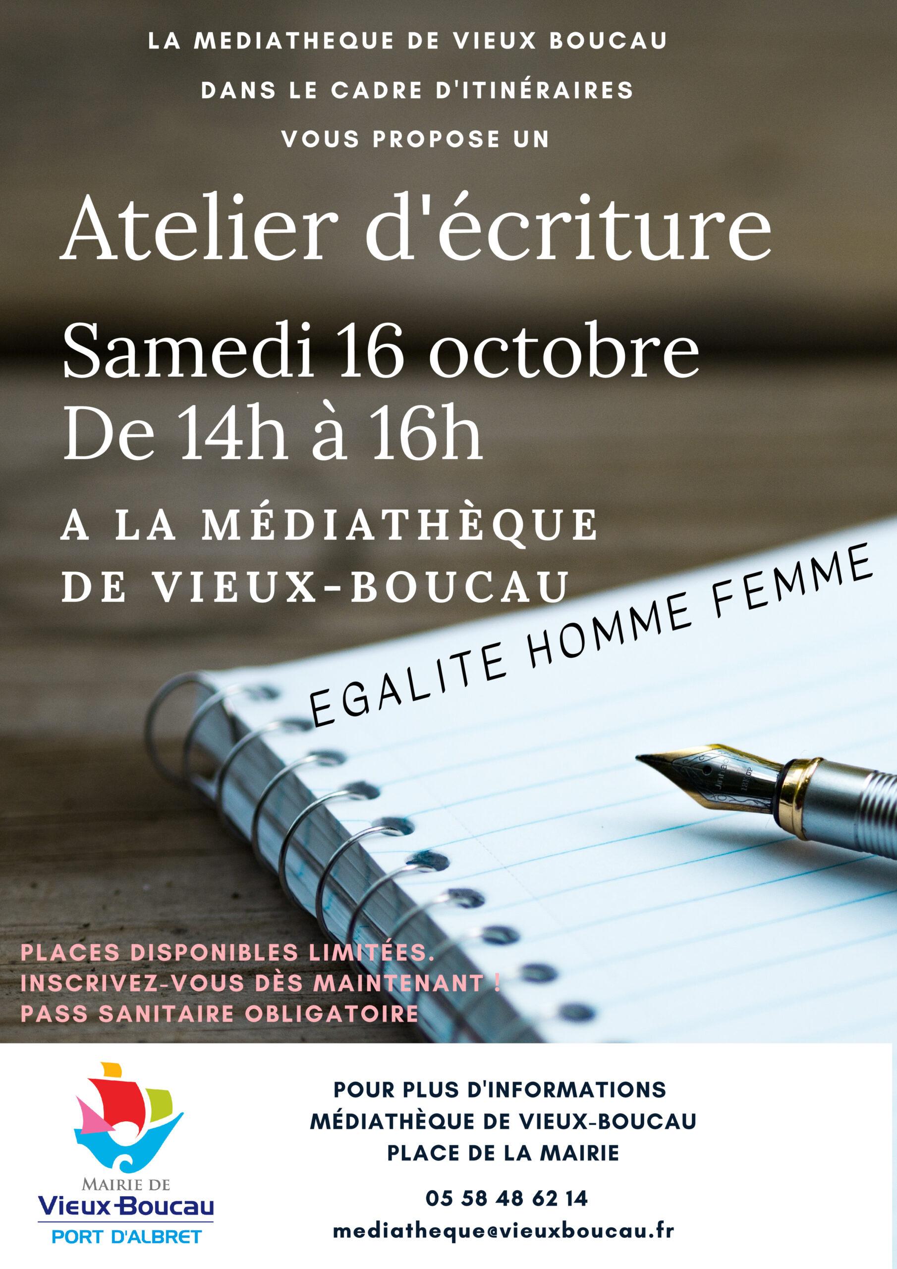 Itinéraires / Egalité hommes-femmes / Atelier d'écriture Vieux-Boucau-les-Bains