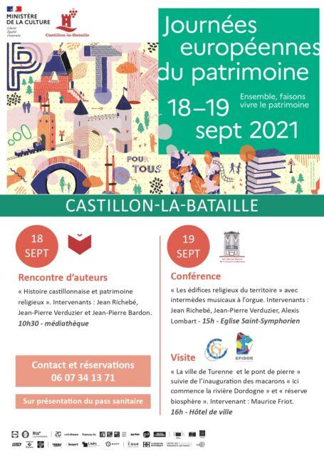 Journées Européennes du patrimoine 2021 Castillon-la-Bataille