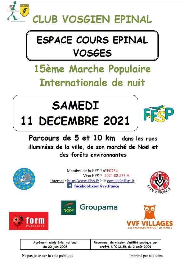 15EME MARCHE POPULAIRE INTERNATIONALE DE NUIT Épinal   2021-12-11